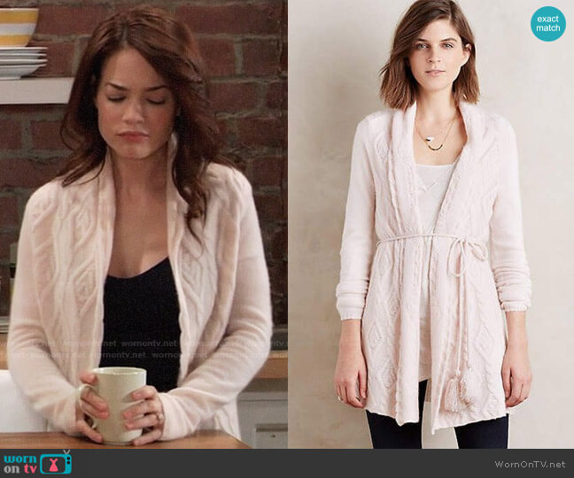 Sleeping on Snow Belted Cashmere Cardigan at Anthropologie worn by Elizabeth Webber (Rebecca Herbst) on General Hospital