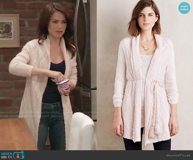 Sleeping on Snow Belted Cashmere Cardigan at Anthropologie worn by Rebecca Herbst on General Hospital