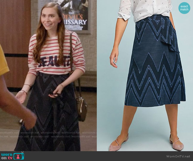 Eva Franco Textured Chevron Midi Skirt worn by Megan on Black-ish