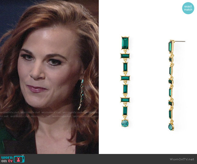Aqua Baguette Linear Drop Earrings  worn by Phyllis Newman (Gina Tognoni) on The Young & the Restless