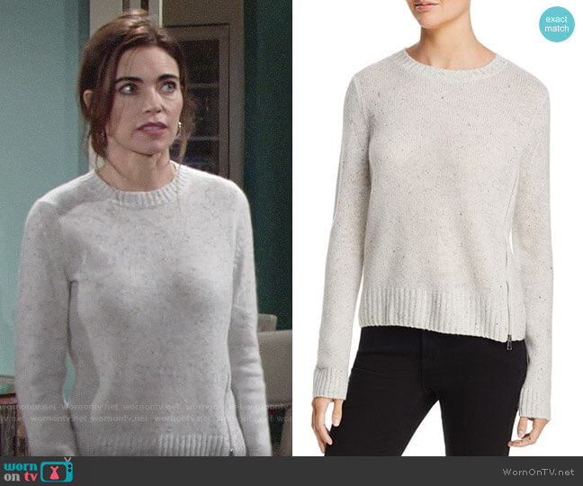 Aqua Zip Detail Donegal Cashmere Sweater in Ash Nep worn by Victoria Newman (Amelia Heinle) on The Young & the Restless