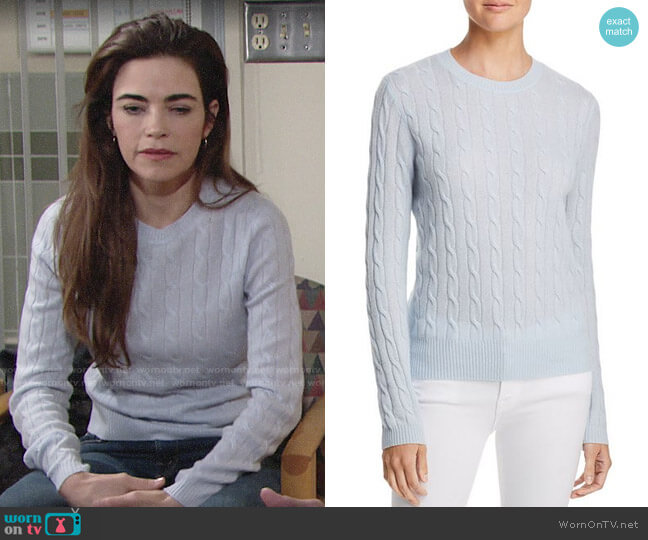Aqua Cable Crewneck Cashmere Sweater in Sky Blue worn by Victoria Newman (Amelia Heinle) on The Young & the Restless