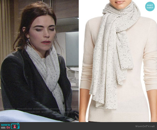 Aqua Cashmere Donegal Cashmere Scarf worn by Victoria Newman (Amelia Heinle) on The Young & the Restless