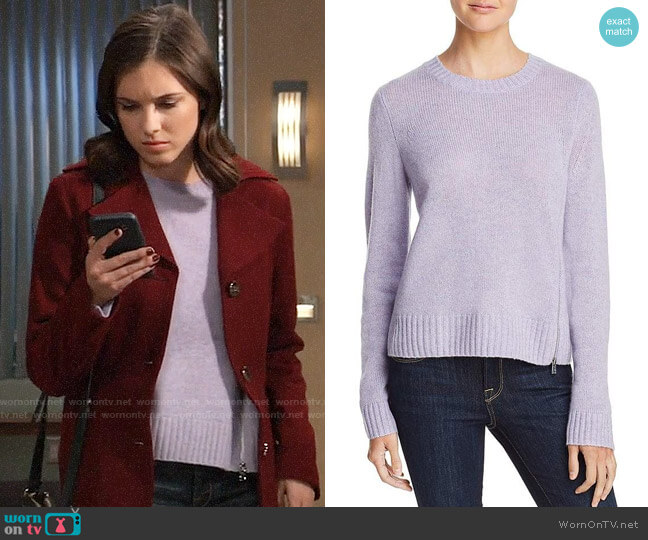 Aqua Zip Detail Donegal Cashmere Sweater worn by Willow Tait (Katelyn MacMullen) on General Hospital