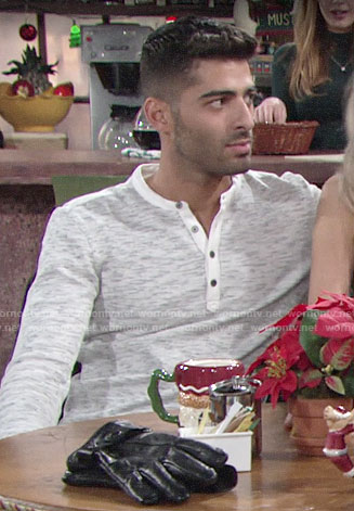Arturo's henley tee on The Young and the Restless