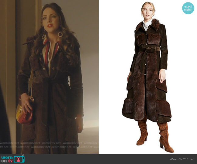 Faux Fur And Corduroy Belted Coat by Awake worn by Fallon Carrington (Elizabeth Gillies) on Dynasty
