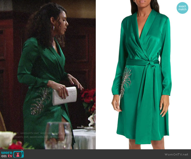 BA&SH Janeiro Satin Wrap Dress worn by Kerry Johnson (Alice Hunter) on The Young & the Restless