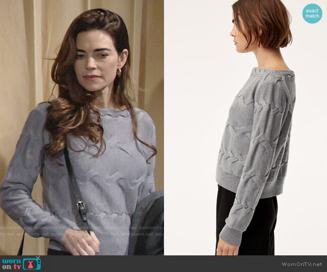 Aritzia Babaton Luc Sweater worn by Victoria Newman (Amelia Heinle) on The Young & the Restless