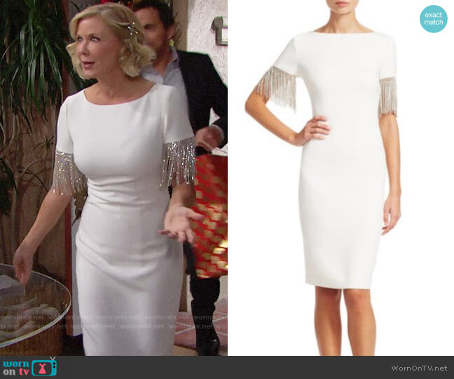 Badgley Mischka Crystal Fringe-Sleeve Sheath Dress worn by Brooke Logan (Katherine Kelly Lang) on The Bold & the Beautiful