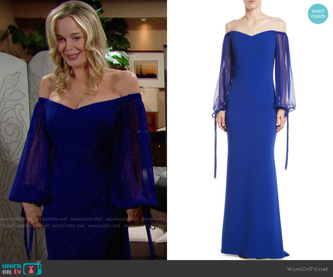 Badgley Mischka Off-the-Shoulder Gown w/ Balloon Sleeves worn by Donna Logan (Jennifer Gareis) on The Bold & the Beautiful