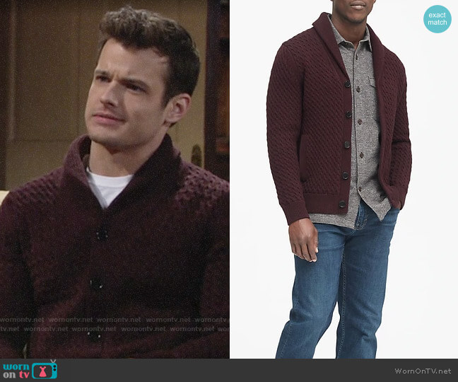 Banana Republic Cotton Cable-Knit Cardigan Sweater worn by Kyle Abbott (Michael Mealor) on The Young & the Restless
