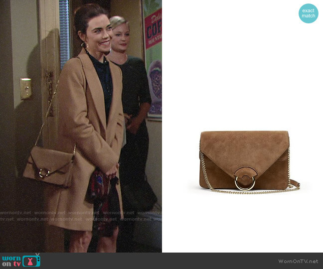 Banana Republic Suede Accordian Bag worn by Victoria Newman (Amelia Heinle) on The Young & the Restless