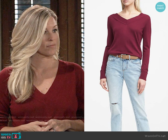 Banana Republic Silk Cashmere Varsity Sweater worn by Carly Corinthos (Laura Wright) on General Hospital