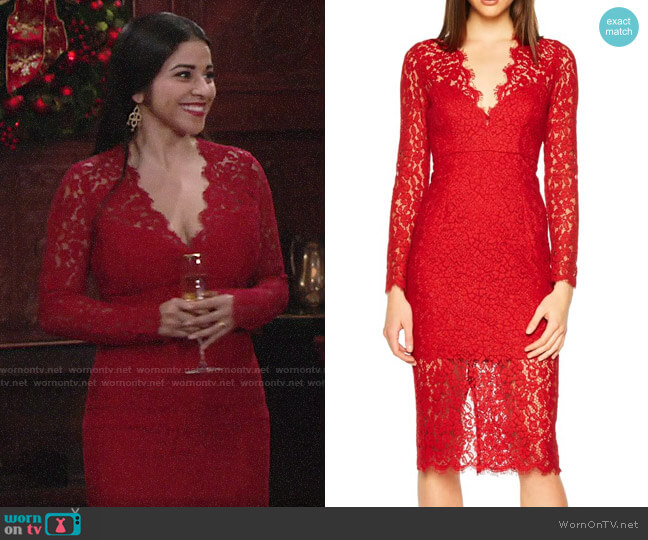 Bardot Midnights Lace Dress worn by Mia Rosales (Noemi Gonzalez) on The Young & the Restless