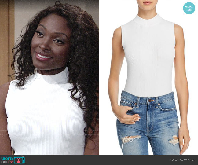 Bardot Ribbed Mock Neck Bodysuit worn by Loren Lott on The Young & the Restless