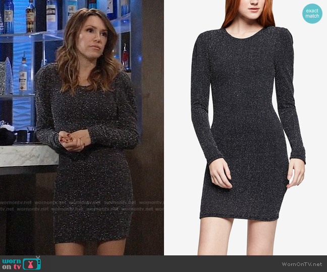 Bcbgeneration Puff-Shoulder Bodycon Dress worn by Margaux Dawson (Elizabeth Hendrickson) on General Hospital