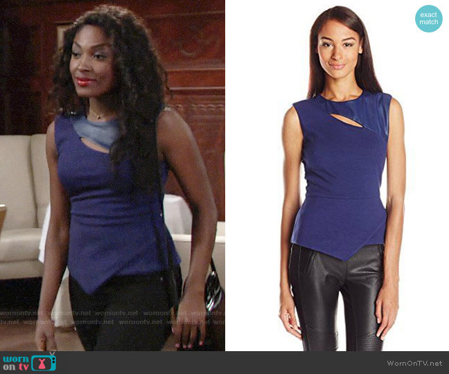 Bcbgmaxazria Farrah Top in Medium Blue worn by Ana Hamilton (Loren Lott) on The Young & the Restless