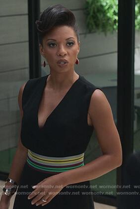Catherine's black sleeveless belted jumpsuit on Marvel's Runaways