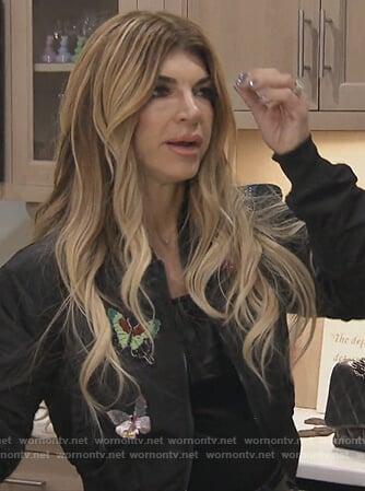 Teresa's black butterfly embellished bomber jacket on The Real Housewives of New Jersey