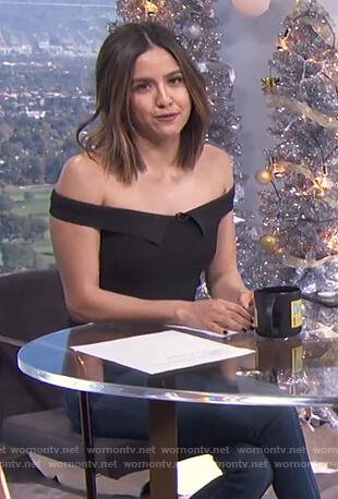 Erin's black off shoulder top on E! News Daily Pop