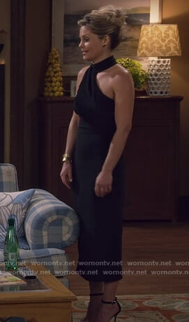 DJ's black halterneck dress with fringe on Fuller House