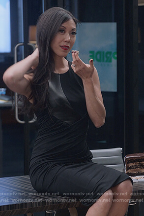 Tina's black leather panel stretch dress on Marvel's Runaways