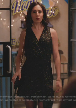 Valencia's black metallic dotted mini dress on Crazy Ex Girlfriend