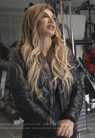 Teresa's black quilted bomber jacket on The Real Housewives of New Jersey
