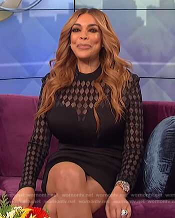 Wendy's black sheer check dress on The Wendy Williams Show