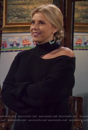 Stephanie's black shoulder cutout sweater on Fuller House