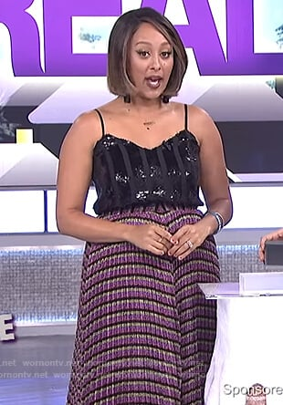 Tamera's black sequin cami and striped skirt on The Real