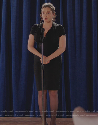 Rebecca's black trim v-neck sheath dress on Crazy Ex Girlfriend