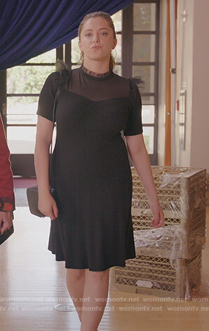 Rebecca's black tulle ruffle dress on Crazy Ex Girlfriend