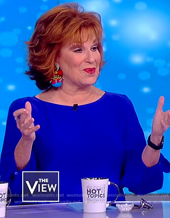 Joy's blue slit sleeve top on The View