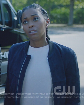 Anissa's blue suede bomber jacket on Black Lightning