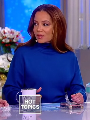 Sunny's blue turtleneck sweater dress on The View