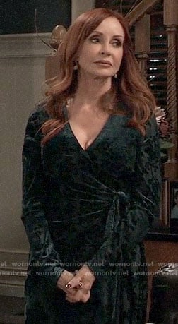 Bobbie's green velvet wrap dress on General Hospital