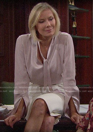Brooke's pink tie-neck blouse on The Bold and the Beautiful