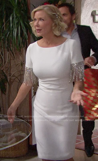 Brooke's white fringed sleeve dress on The Bold and the Beautiful