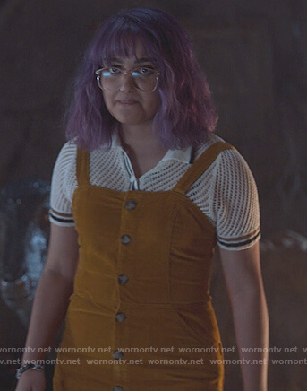 Gert's brown button front jumpsuit and mesh polo on Marvel's Runaways
