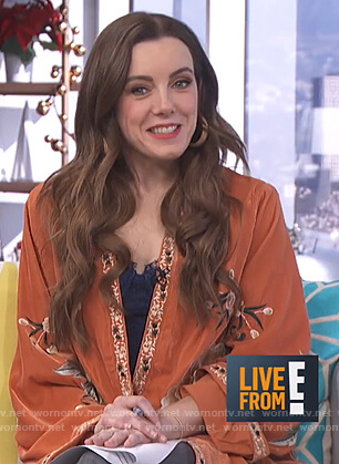 Melanie's brown floral embroidered kimono on Live from E!