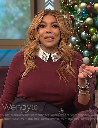 Wendy's maroon embellished collar sweater on The Wendy Williams Show