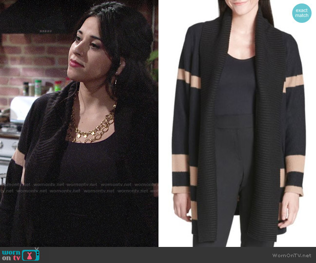 Calvin Klein Striped Long-Sleeve Wool Blend Cardigan worn by Mia Rosales (Noemi Gonzalez) on The Young & the Restless