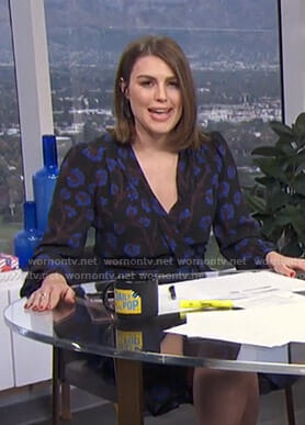 Carissa's black floral wrap dress on E! News Daily Pop