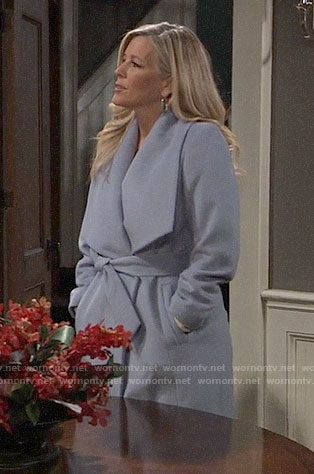 Carly's blue wrap coat on General Hospital