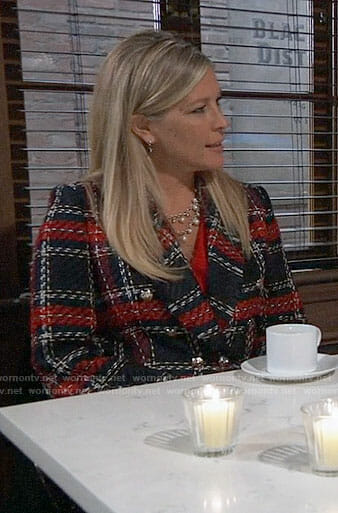Carly's plaid tweed jacket on General Hospital