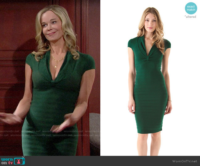 Catherine Malandrino Deep V Pointelle Dress worn by Donna Logan (Jennifer Gareis) on The Bold & the Beautiful