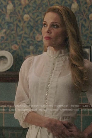 Charity's white ruffled embellished blouse on Charmed