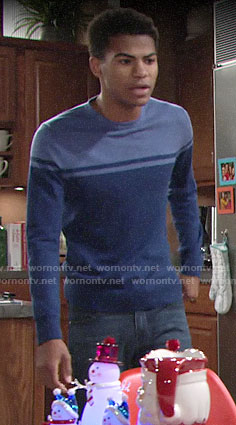 Charlie's blue colorblock sweater on The Young and the Restless