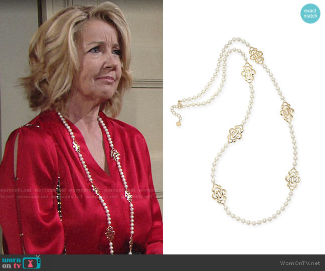 Charter Club Gold-Tone Openwork Flower & Imitation Pearl Station Necklace worn by Nikki Reed Newman (Melody Thomas-Scott) on The Young & the Restless